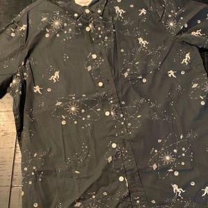Men's XXL short sleeve button up-astronauts